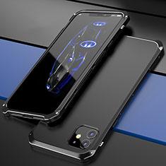 Funda Lujo Marco de Aluminio Carcasa T02 para Apple iPhone 12 Negro