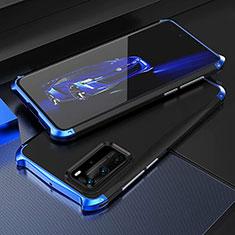 Funda Lujo Marco de Aluminio Carcasa T05 para Huawei P40 Pro Azul