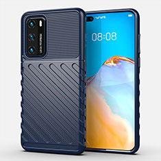 Funda Silicona Carcasa Goma Line C01 para Huawei P40 Azul