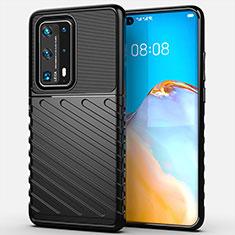Funda Silicona Carcasa Goma Line C01 para Huawei P40 Pro+ Plus Negro