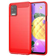 Funda Silicona Carcasa Goma Line para LG K52 Rojo