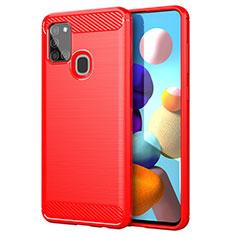 Funda Silicona Carcasa Goma Line para Samsung Galaxy A21s Rojo