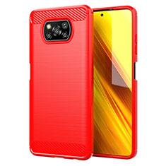 Funda Silicona Carcasa Goma Line para Xiaomi Poco X3 NFC Rojo