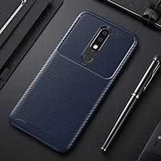 Funda Silicona Carcasa Goma Twill para Nokia X3 Azul