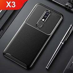 Funda Silicona Carcasa Goma Twill para Nokia X3 Negro