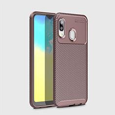 Funda Silicona Carcasa Goma Twill para Samsung Galaxy A20e Marron