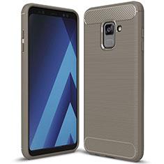 Funda Silicona Carcasa Goma Twill para Samsung Galaxy A8+ A8 Plus (2018) Duos A730F Gris