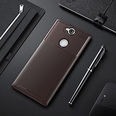 Funda Silicona Carcasa Goma Twill para Sony Xperia XA2 Plus Marron
