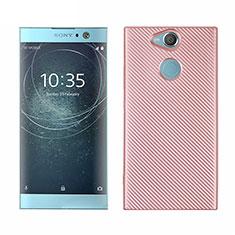 Funda Silicona Carcasa Goma Twill S01 para Sony Xperia XA2 Plus Oro Rosa