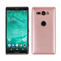 Funda Silicona Carcasa Goma Twill S01 para Sony Xperia XZ2 Compact Oro Rosa