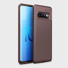 Funda Silicona Carcasa Goma Twill Y01 para Samsung Galaxy S10 Marron