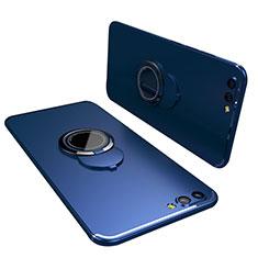 Funda Silicona Carcasa Ultrafina Goma con Anillo de dedo Soporte para Huawei Honor V10 Azul