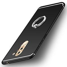 Funda Silicona Carcasa Ultrafina Goma con Anillo de dedo Soporte para Huawei Mate 9 Lite Negro