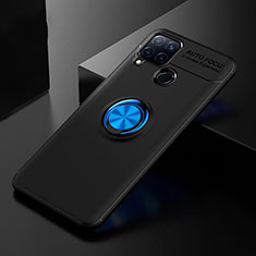 Funda Silicona Carcasa Ultrafina Goma con Anillo de dedo Soporte para Realme C15 Azul y Negro