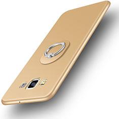 Funda Silicona Carcasa Ultrafina Goma con Anillo de dedo Soporte para Samsung Galaxy A3 Duos SM-A300F Oro