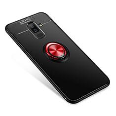 Funda Silicona Carcasa Ultrafina Goma con Anillo de dedo Soporte para Samsung Galaxy A9 Star Lite Rojo y Negro
