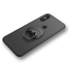 Funda Silicona Carcasa Ultrafina Goma con Anillo de dedo Soporte para Xiaomi Mi 8 Negro