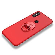 Funda Silicona Carcasa Ultrafina Goma con Anillo de dedo Soporte para Xiaomi Mi 8 SE Rojo