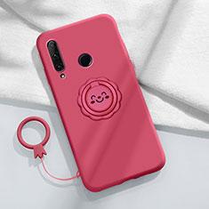 Funda Silicona Carcasa Ultrafina Goma con Magnetico Anillo de dedo Soporte A01 para Huawei Enjoy 10 Plus Rojo