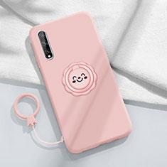 Funda Silicona Carcasa Ultrafina Goma con Magnetico Anillo de dedo Soporte A01 para Huawei Enjoy 10S Rosa