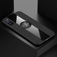 Funda Silicona Carcasa Ultrafina Goma con Magnetico Anillo de dedo Soporte A01 para Huawei Enjoy 20 Pro 5G Negro