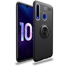 Funda Silicona Carcasa Ultrafina Goma con Magnetico Anillo de dedo Soporte A01 para Huawei Enjoy 9s Negro