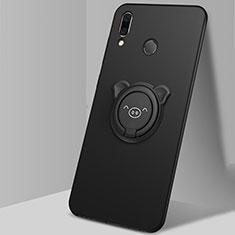 Funda Silicona Carcasa Ultrafina Goma con Magnetico Anillo de dedo Soporte A01 para Huawei Honor 10 Lite Negro