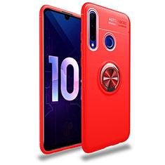 Funda Silicona Carcasa Ultrafina Goma con Magnetico Anillo de dedo Soporte A01 para Huawei Honor 20 Lite Rojo
