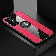 Funda Silicona Carcasa Ultrafina Goma con Magnetico Anillo de dedo Soporte A01 para Huawei Honor 30 Rosa Roja