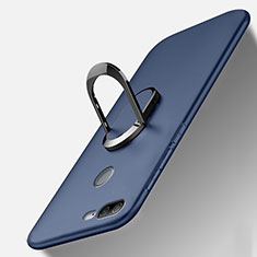Funda Silicona Carcasa Ultrafina Goma con Magnetico Anillo de dedo Soporte A01 para Huawei Honor 9 Lite Azul