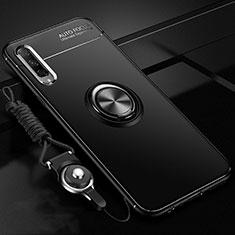 Funda Silicona Carcasa Ultrafina Goma con Magnetico Anillo de dedo Soporte A01 para Huawei Honor 9X Pro Negro