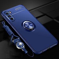Funda Silicona Carcasa Ultrafina Goma con Magnetico Anillo de dedo Soporte A01 para Huawei Mate 40 Lite 5G Azul