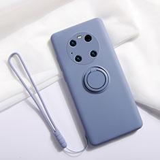 Funda Silicona Carcasa Ultrafina Goma con Magnetico Anillo de dedo Soporte A01 para Huawei Mate 40 Pro Gris Lavanda