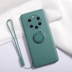 Funda Silicona Carcasa Ultrafina Goma con Magnetico Anillo de dedo Soporte A01 para Huawei Mate 40 Pro+ Plus Verde