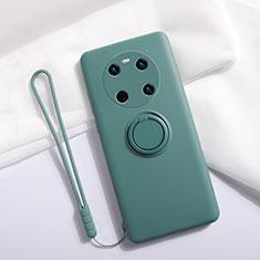 Funda Silicona Carcasa Ultrafina Goma con Magnetico Anillo de dedo Soporte A01 para Huawei Mate 40 Verde