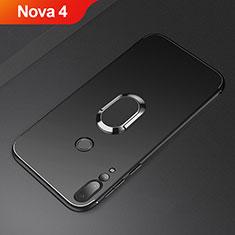 Funda Silicona Carcasa Ultrafina Goma con Magnetico Anillo de dedo Soporte A01 para Huawei Nova 4 Negro