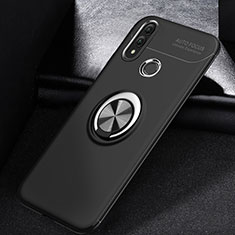 Funda Silicona Carcasa Ultrafina Goma con Magnetico Anillo de dedo Soporte A01 para Huawei P Smart (2019) Negro