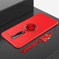 Funda Silicona Carcasa Ultrafina Goma con Magnetico Anillo de dedo Soporte A01 para OnePlus 8 Rojo