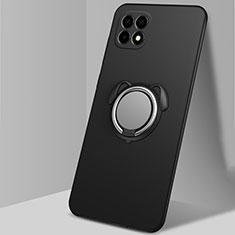 Funda Silicona Carcasa Ultrafina Goma con Magnetico Anillo de dedo Soporte A01 para Oppo Reno4 SE 5G Negro