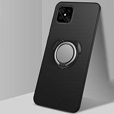 Funda Silicona Carcasa Ultrafina Goma con Magnetico Anillo de dedo Soporte A01 para Oppo Reno4 Z 5G Negro