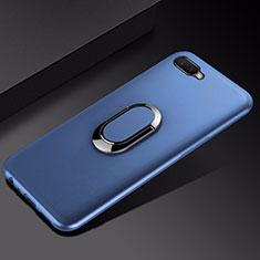 Funda Silicona Carcasa Ultrafina Goma con Magnetico Anillo de dedo Soporte A01 para Oppo RX17 Neo Azul