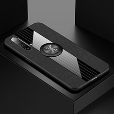 Funda Silicona Carcasa Ultrafina Goma con Magnetico Anillo de dedo Soporte A01 para Realme X3 SuperZoom Negro