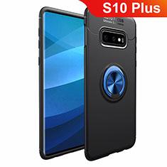 Funda Silicona Carcasa Ultrafina Goma con Magnetico Anillo de dedo Soporte A01 para Samsung Galaxy S10 Plus Azul y Negro