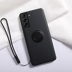 Funda Silicona Carcasa Ultrafina Goma con Magnetico Anillo de dedo Soporte A01 para Samsung Galaxy S21 5G Negro