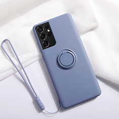 Funda Silicona Carcasa Ultrafina Goma con Magnetico Anillo de dedo Soporte A01 para Samsung Galaxy S21 Ultra 5G Gris Lavanda