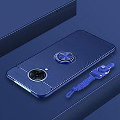 Funda Silicona Carcasa Ultrafina Goma con Magnetico Anillo de dedo Soporte A01 para Vivo Nex 3 5G Azul
