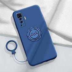 Funda Silicona Carcasa Ultrafina Goma con Magnetico Anillo de dedo Soporte A01 para Vivo X50 5G Azul