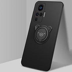 Funda Silicona Carcasa Ultrafina Goma con Magnetico Anillo de dedo Soporte A01 para Vivo X50 Pro 5G Negro