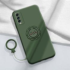 Funda Silicona Carcasa Ultrafina Goma con Magnetico Anillo de dedo Soporte A01 para Vivo Y12s Verde Noche