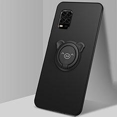 Funda Silicona Carcasa Ultrafina Goma con Magnetico Anillo de dedo Soporte A01 para Xiaomi Mi 10 Lite Negro